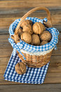 Walnuts in a little basket Royalty Free Stock Images