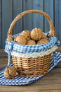 Walnuts in a little basket Royalty Free Stock Photos