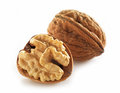Walnuts macro on white background Stock Photo