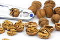 Walnuts and nutcracker Royalty Free Stock Photo