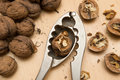 Walnuts and nutcracker on the wooden table Stock Photos