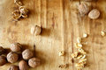 Walnuts on the old board peel and core food Stock Image