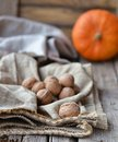 Walnuts and pumpkin on rustic background Royalty Free Stock Photography