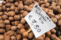 Walnuts for sale at market stall in italy with price label Stock Photography