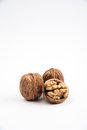 Walnuts shelled on white background Royalty Free Stock Images