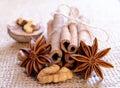 Walnuts star anise cinnamon sticks burlap background Royalty Free Stock Photography