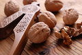 Walnuts on the table pile of whole wooden Royalty Free Stock Images