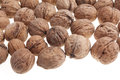 Walnuts on the white background Royalty Free Stock Photography