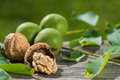 Walnuts on a wooden background Royalty Free Stock Photography