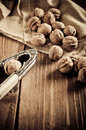 Walnuts on wooden boards vintage retouch Stock Photo