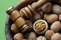 Walnuts in a wooden bowl closeup photo of with nutcracker hammer Stock Images