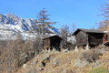 Walser style house in saas almagell the alps switzerland valais wooden constructions prevail brown and often multi storey houses Stock Image