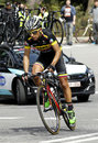Walter pedraza of colombia team rides during the tour catalonia cycling race through the streets monjuich mountain in Royalty Free Stock Images