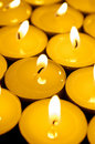 Wam colored tealight candles Stock Photo