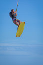 Wan riding kite surf on sea waves Royalty Free Stock Photo
