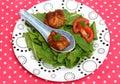 Wan tans asian with salad Stock Photo
