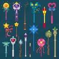 Wand vector magic stick miracle fantasy magician princess wizard object illustration magical set of fairytale symbol