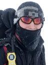Wanderer abgedeckt mit Schnee Stockfotografie