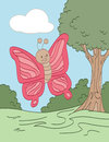 Wandering pink butterfly smiling through a field Royalty Free Stock Image