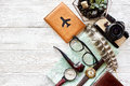 Wanderlust and travel concept, flat lay. map passport money comp Royalty Free Stock Photo