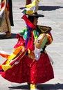 Wangdue tshechu节日的鼓舞蹈家在不丹 库存图片