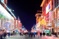Wangfujing commercial street at night beijing china apr on april in beijing it is one of the most famous shopping streets in the Royalty Free Stock Image