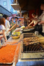 Wangfujing night snack street famous in beijing china Royalty Free Stock Photography