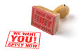 We want you a rubber stamp on a white background Stock Images