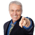 We want you senior businessman pointing at camera isolated on white Royalty Free Stock Photos