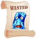 A wanted blue monster in a poster illustration of on white background Stock Image
