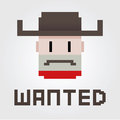 Wanted cowboy outlaw vector illustration of a poster of a Royalty Free Stock Photo