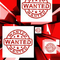 Wanted on cubes shows needed or required Stock Photos