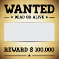 Wanted dead or alive template vector Stock Photos
