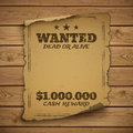 Wanted dead or alive wild west grunge old poster on wooden planks vector illustration Royalty Free Stock Images