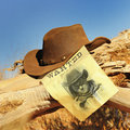Wanted far west vintage poster in a gost town Royalty Free Stock Photography