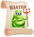 A wanted monster holding a death fork illustration of on white background Royalty Free Stock Photo
