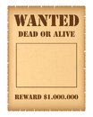 Wanted poster isolated on white background Royalty Free Stock Photos