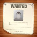 Wanted poster template blank sign on wooden wall Stock Image