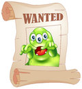 A wanted three eyed monster in a poster illustration of on white background Royalty Free Stock Image