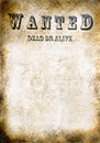 Wanted vintage poster dead or alive space for text Stock Images