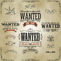 Wanted vintage western banners illustration of a set of hand drawn old dead or alive reward movie placard with sketched floral Royalty Free Stock Images