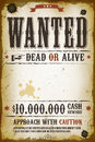 Wanted vintage western poster illustration of a old placard template with dead or alive inscription cash reward like in far west Royalty Free Stock Photo