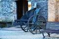 War cannon and bench, Castello, Conegliano Veneto Royalty Free Stock Photo