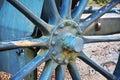War cannon at Castello, wheel detail, Conegliano Royalty Free Stock Photo