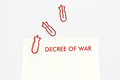 War decree template on white background of document with red bomb shape paper clip illustration clipping path Stock Image