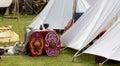 War Equipment in an Ancient Roman Encampment Royalty Free Stock Photo