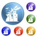 War fire city icons set vector