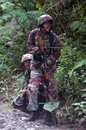 War game hobbyists playing with airsoft gun in the woods in boyolali central java indonesia Stock Images