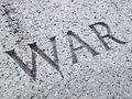 War Lettering Carving Stock Photo