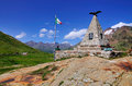 War memorial atop famous gavia high mountain pass italy Royalty Free Stock Images